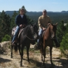 Tom and Danielle, trail riding in beautiful country